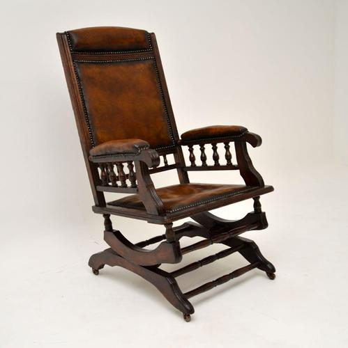 Antique Victorian Leather Rocking Chair (1 of 9)