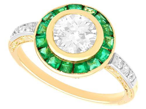 1.05ct Emerald & 1.18ct Diamond, 18ct Yellow Gold Dress Ring c.1930 (1 of 9)