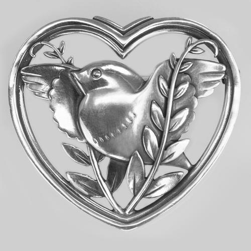 Vintage  Georg Jensen Robin in a Heart Brooch Arno Malinowski 1930s Silver 283 Brooch (1 of 6)
