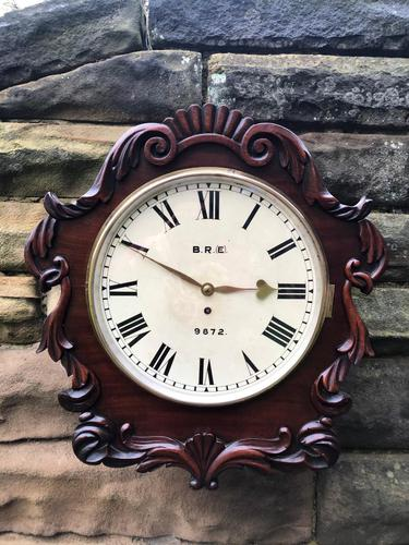 Antique Mahogany Fusee Railway Station Dial Clock (1 of 10)