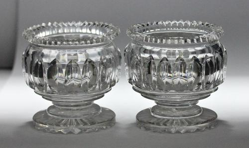 Pair of early 19th century Anglo Irish round, cut glass salts (1 of 3)