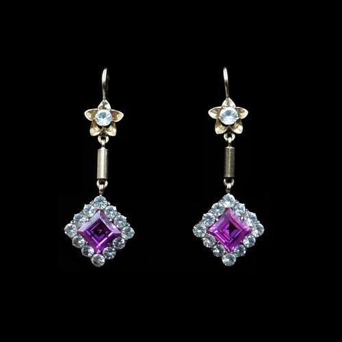 Art Deco Synthetic Ruby & White Zircon 9ct Gold Drop Dangle Earrings (1 of 5)