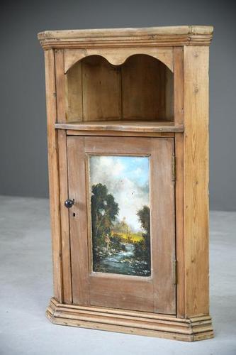 Rustic Pine Corner Cupboard Handpainted Fishing Scene (1 of 12)