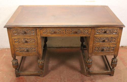1930s Carved Oak Desk with Good Oak Top. 1 Piece (1 of 4)