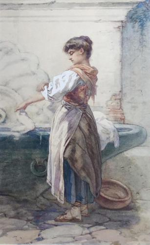 Guido Bach Watercolour - Girl with Washing by Fountain (1 of 2)