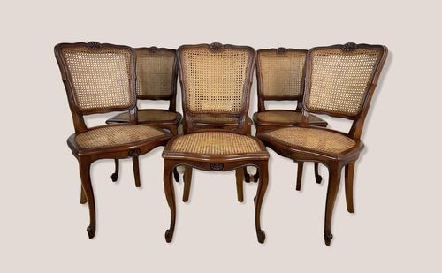 Vintage French Louis Style Set Of 6 Cherry Wood Bergère Cane Dining Chairs (1 of 10)