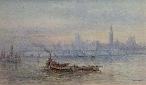 Walter Duncan Watercolour - The Houses of Parliament from the River Thames' (1 of 2)