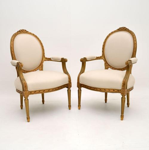 Pair of Antique French Giltwood Salon Chairs (1 of 11)