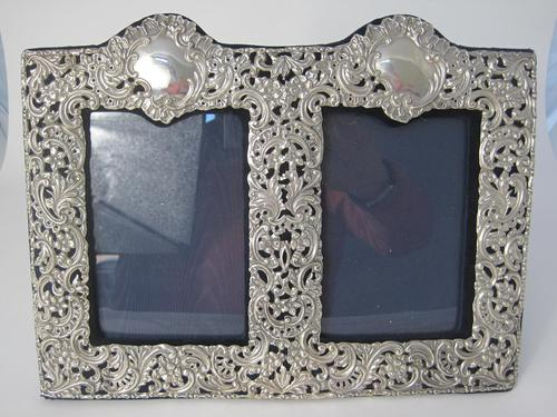 Unusual Victorian Double Photo Frame with Two Empty Cartouche (1 of 6)