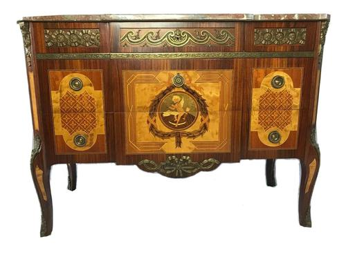 Fine Antique French Empire Style Marble Canted Marquetry Credenza (1 of 12)