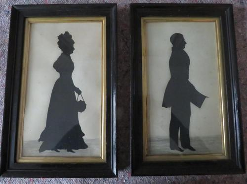 Park of Large Ink Silhouette of Husband and Wife in Ebonised Frames (1 of 7)