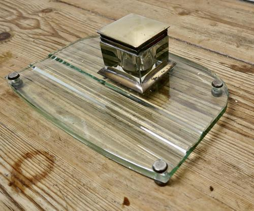 Art Deco Glass and Brass Desk Inkwell with Pen Rest (1 of 8)