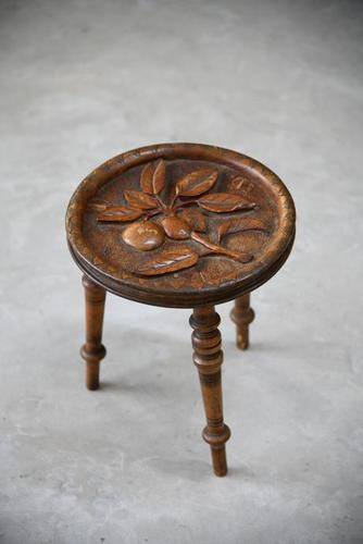 Carved Country Tripod Stool (1 of 9)