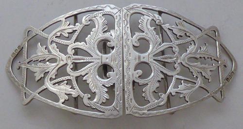 Edwardian 1901 Hallmarked Solid Silver Nurses Belt Buckle Charles W Comyns (1 of 7)