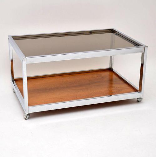 1970's Vintage Rosewood & Chrome Coffee Table by Howard Miller Associates (1 of 8)