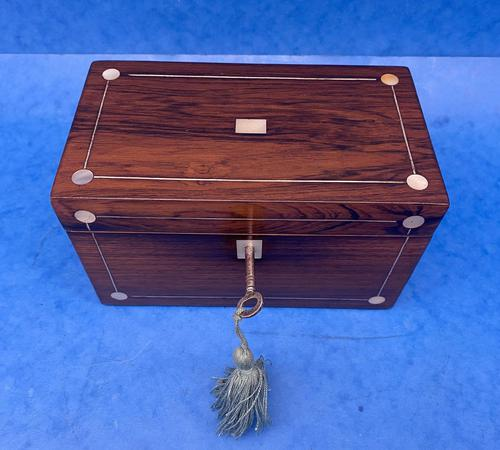 William IV Rosewood Twin Section Tea Caddy with Mother of Pearl Inlay (1 of 14)