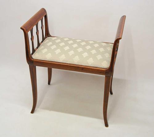 Elegant Edwardian Inlaid Mahogany  Piano Stool, Dressing  Stool, Re-upholstered (1 of 20)
