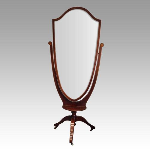 Edwardian Inlaid Mahogany Cheval Mirror (1 of 9)