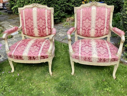 Pair of Large Painted Armchairs (1 of 9)