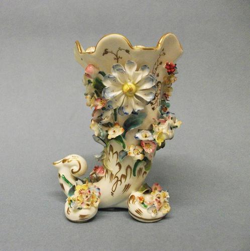 Samuel Alcock Flower Encrusted Cornucopia Vase c.1830-1835 (1 of 6)