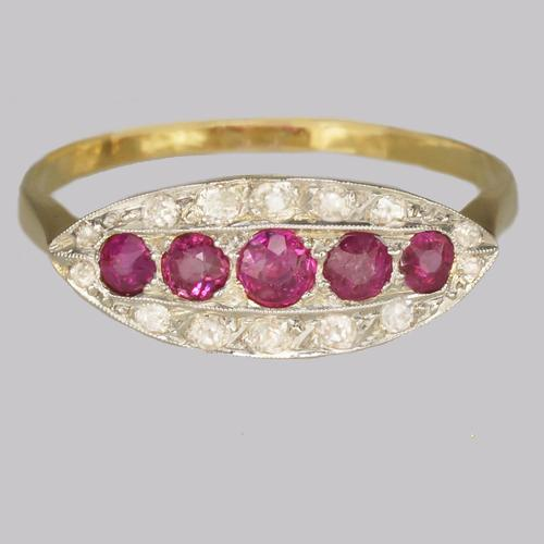 Antique Ruby & Old Cut Diamond Ring 18ct Gold Edwardian / Art Deco Ring c.1910 (1 of 8)