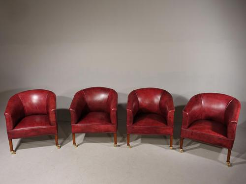 Smart Set of Four Early 20th Century Mahogany Framed Tub Chairs (1 of 6)