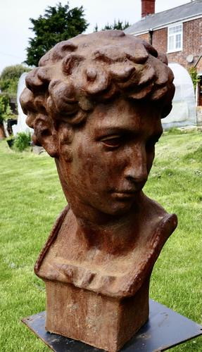 Weathered Cast Iron Statue of Michelangelo's David (1 of 8)