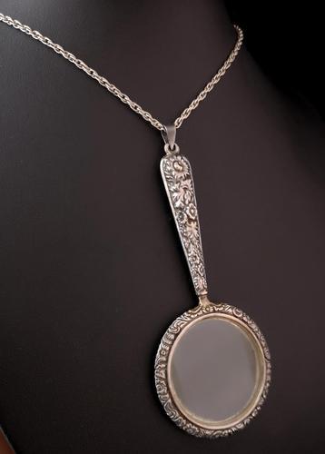 Antique Silver Magnifying Glass Pendant, Art Nouveau (1 of 10)