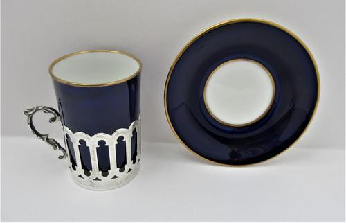 Aynsley Bone China Coffee Cup & Saucer, Silver Mount, James Dixon & Sons Ltd, Sheffield 1919 (1 of 8)
