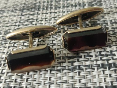 Vintage Ussr Period Russian 875 Gold Gilt Silver Cufflinks Agate Stone c.1950s-1960s (1 of 8)