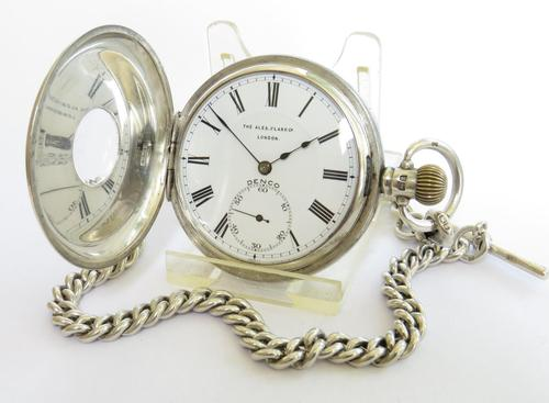 Antique Denco Silver Hunter Pocket Watch, Military History (1 of 7)