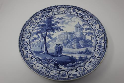 Antique Blue & White Pearlware Italian Scene Cheese Stand (1 of 12)