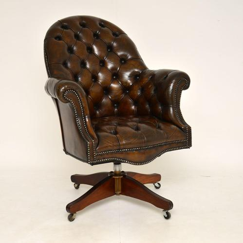Antique Victorian Style Leather Swivel Desk Chair (1 of 12)