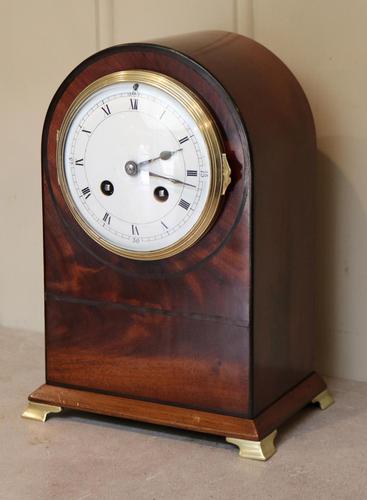 Edwardian Mahogany Arch Top Mantel Clock (1 of 10)