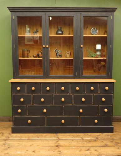 Black Painted Pine Apothecary Cabinet Style Dresser with Multi Drawer Base (1 of 18)