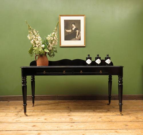 Antique Black Ebonized Console Table with Drawers & Moustache Back (1 of 22)