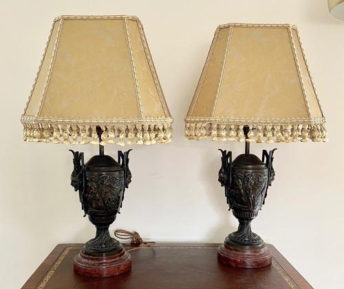 Magnificent Pair of Heavy Bronze Lamps (1 of 11)