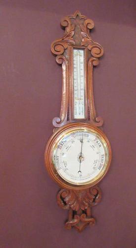 Superb Antique Polished Oak Carved Banjo Barometer (1 of 6)