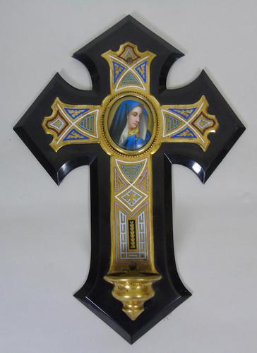 19th Century Champleve Enamel and Bronze Crucifix Holy Water Stoop (1 of 6)