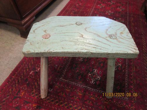 Early Victorian Welsh 3 Legged Painted Stool (1 of 3)