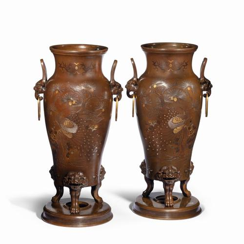 Pair of Large Meiji Period Bronze Vases (1 of 9)