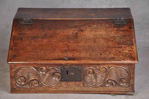 17th Century Carved Oak Box (1 of 7)