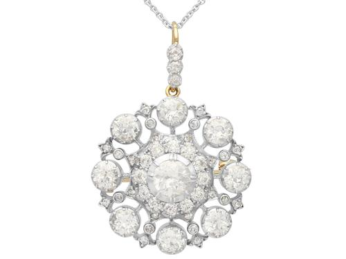 6.10ct Diamond & 9ct Yellow Gold Brooch / Pendant - Antique Victorian (1 of 15)