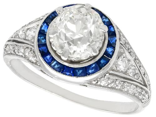 2.59 ct Diamond, 0.48ct Sapphire & Platinum Dress Ring  c.1930 (1 of 9)