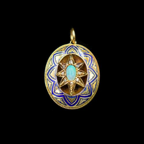 Antique Blue Enamel Opal and Diamond Star 15ct Gold Oval Locket Pendant (1 of 11)