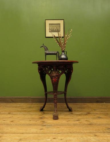 Antique Victorian Cast Iron Britannia Pub Table, Bistro table with old paint (1 of 13)