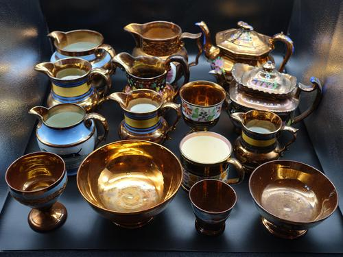 Attractive Private Collection of 15 pieces of 19th Century Copper Lustre (1 of 2)