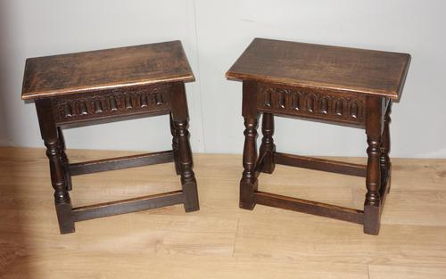 Pair of Edwardian Oak Joint Stools (1 of 6)