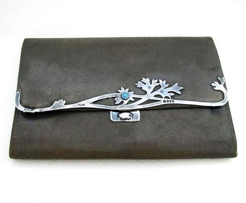 Rare Arts & Crafts 1901 Antique Solid Sterling Silver Mounted Leather Purse Wallet Name Note Card Stamp Case. English Hallmarked (1 of 12)
