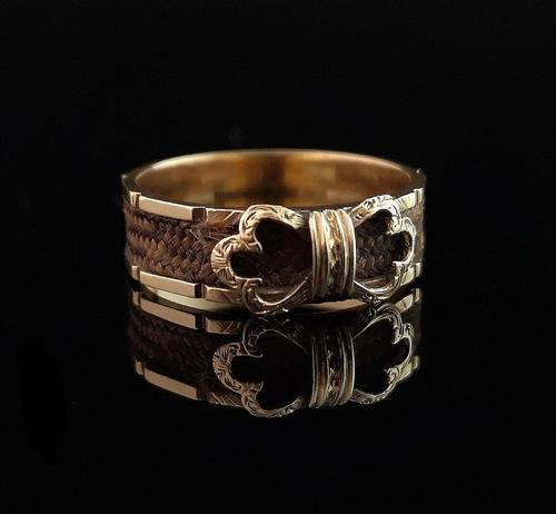 Antique mourning ring, 15ct gold, hairwork (1 of 10)